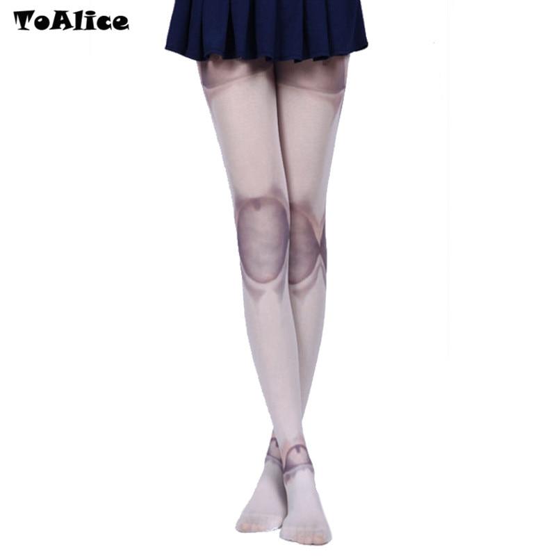 Gothic Lolita Tights Harajuku SD Ball Joint Tattoo Print Pantyhose Stockings Tights Women Summer Thin Velet Tights Wholesale Lot