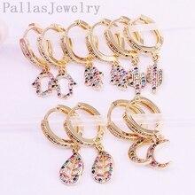 5Pairs Mix Stil Altın dolu gökkuşağı CZ zirkonya döşeli hamsa el/hilal dangle küpe, moda kadınlar narin takı