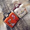 Designer Cute Embroidery Cartoon Shoulder Bags PU Leather Chains Bolsos Mujer Mini Handbags Girls Evening Clutch Bags