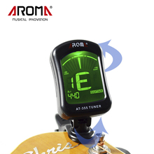 Aroma LCD Display Electric Tuner Clip-On Tuner AT-355 For Chromatic Bass Violin Viola Ukulele Guitar Parts Musical Instruments