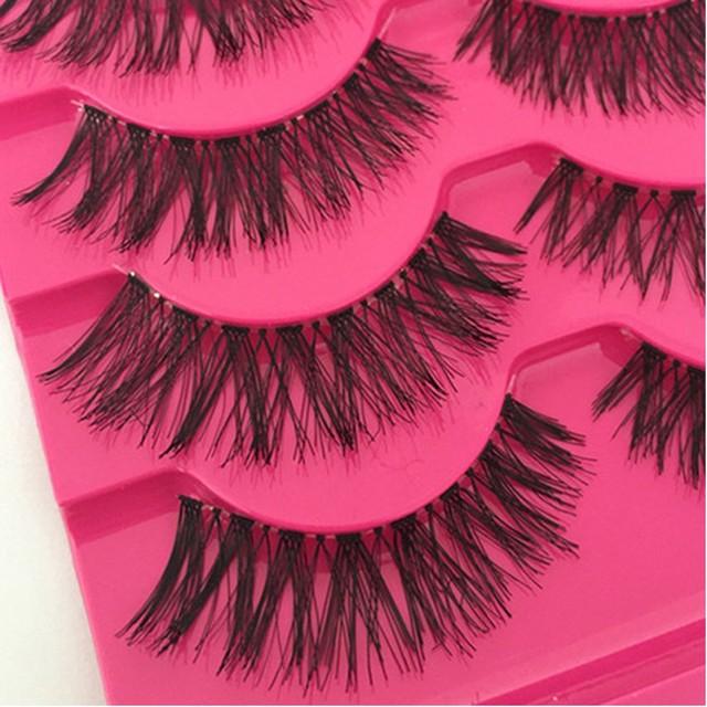 5 Pairs New Fashion Women Soft Natural Long Cross Fake Eye Lashes Handmade Thick False Eyelashes  Extension Beauty Makeup Tools 3