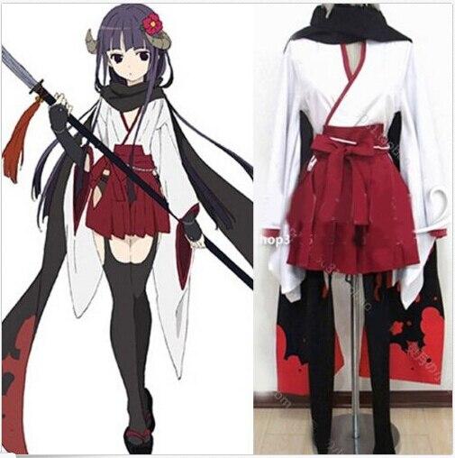 NEW Shirakiin Ririchiyo Cosplay Costume Muffler White&Red Full Set Kimono S-XL Anime Dress Skirt