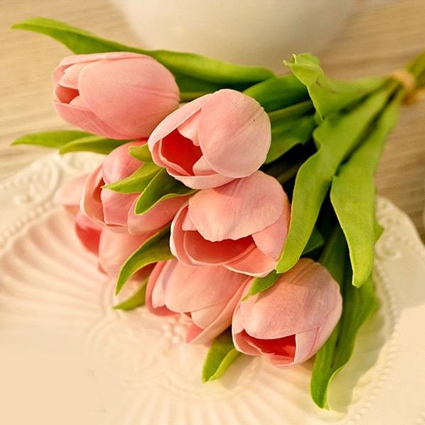 New Natural 20Pcs Artifical Real Touch PU Pink Tulips Flower Single Stem Bouquet Home Room Party Wedding Decor