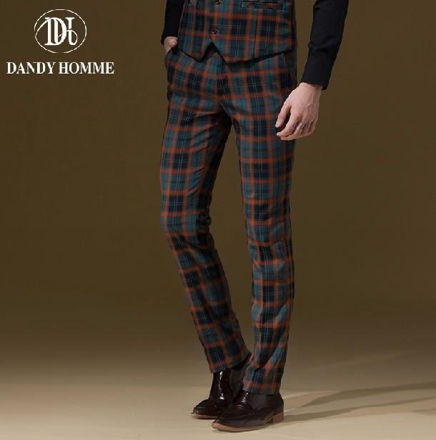 Dandy Homme High Quality 2015 Men Autumn Winter Warm Fashion Orange Plaid Slim Young Man Leisure Business Wedding Suits Pants