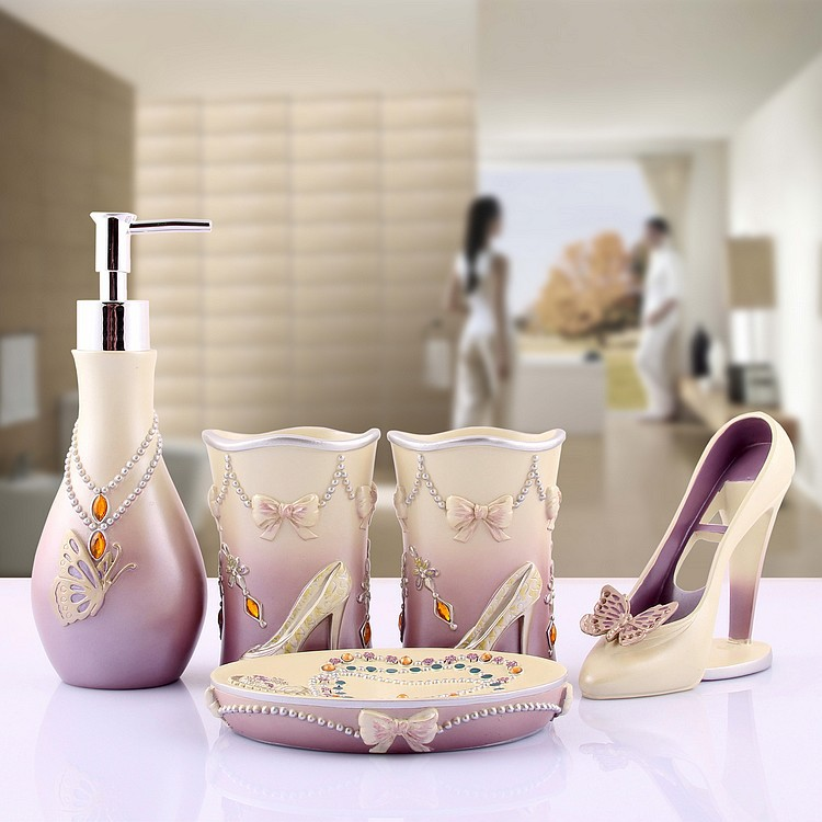 Resin Bathroom Set Of Five Pieces Bathroom Decoration And Supplies Kits  Fashion Lady Vivid Heeled Shoes And Jewelry Lilac Color In Bathroom  Accessories Sets ...