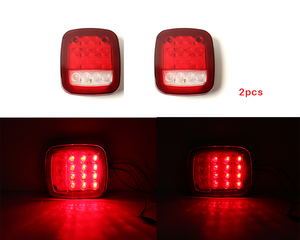 High Quality 2 PCS/Pair Universal 12V Truck Boat 16 LEDs Stud Mount Back Up lamp Stop Tail Turn Signal Light Red/White 2pcs truck light 4 leds lamp