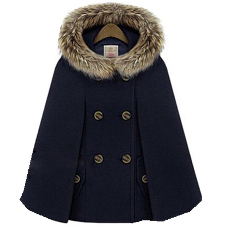 Осенне-зимний двубортный плащ-накидка, шерстяное пальто для женщин, красное твидовое пончо с меховым капюшоном, Толстая теплая Свободная верхняя одежда с рукавами «летучая мышь» - Цвет: Тёмно-синий