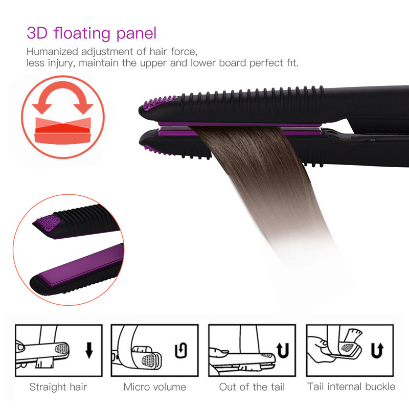 Wireless USB Rechargeable Ceramic Hair Straightener Curler 3D Floating Plate 2 in 1 Hair Curling Iron Flat Iron Straightening