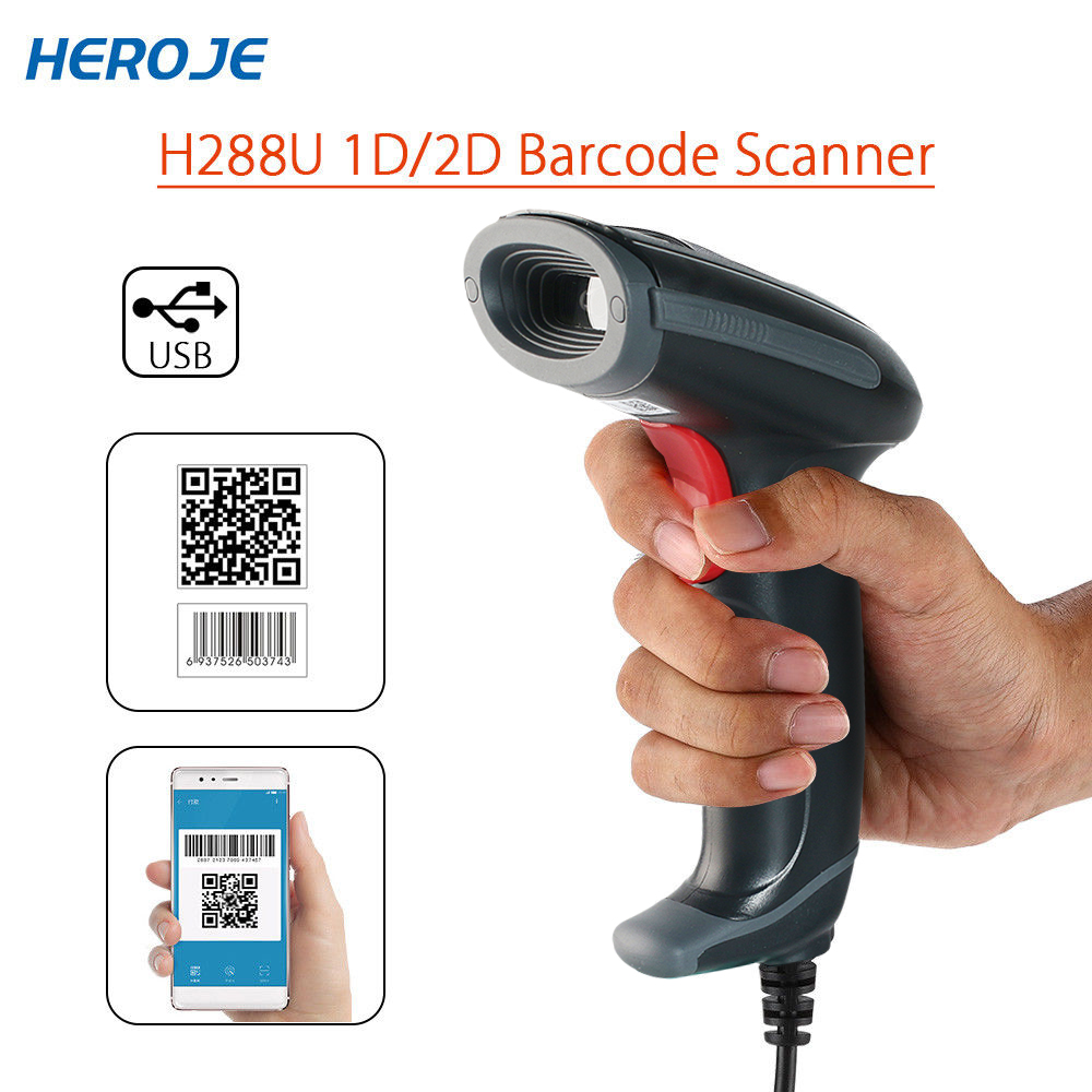 Heroje H288U Portable Wired DataMatrix PDF417 QR Code Scanner 2D USB High Speed 1D 2D Bar Code Scanner Reader For Windows