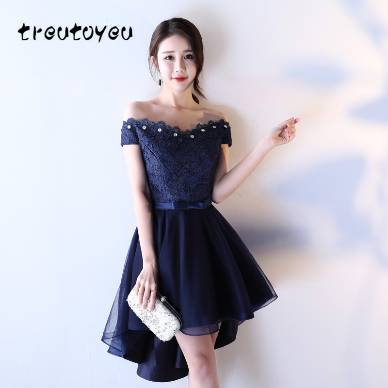 US $44.38 20% OFF|Treutoyeu Lace Dress with Crystal Beige Evening Plus Size  Dress Navy Blue Female Off the Shoulder Dress Party 2018 New D019B-in ...