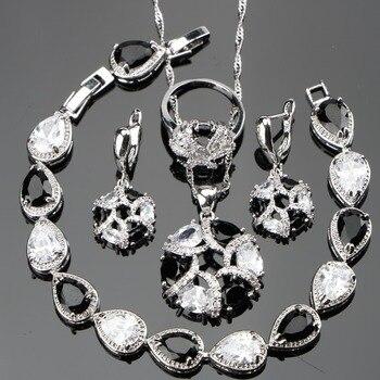 Bridal Black CZ Wedding Silver 925 Jewelry Sets