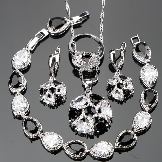Bridal Black CZ Wedding Silver 925 Jewelry Sets Women Charms Bracelets Pendant&N