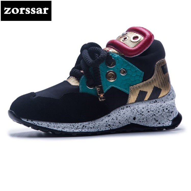 {Zorssar} 2018 New Large size 35-42 Women Sneakers Flat Travel Shoes Lace Up Platform Creepers Female Casual Flats shoes instantarts women casual flats cute dog yorkshire terrier pug flower pattern sneakers for female lace up spring mesh flat shoes
