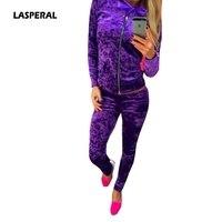 LASPERAL 2017 Sexy Women Suits Fashion Velvet Long Sleeve Sportsuit Women 2 Piece Set Slim Pants