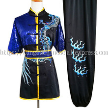 中国武術制服カンフー服武道スーツ刺繍デモ衣装男性ボーイ女性子供大人