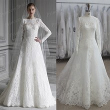 100% Real Photos Hot Sale Wedding Gown A Line Lace Appliqued Full Sleeves Sweep Train Wedding Dresses Long For Women MF633