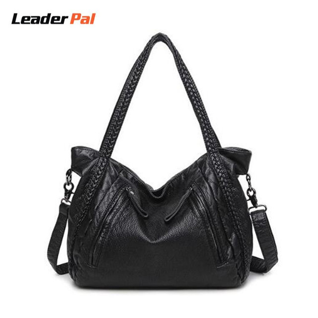 707e34260d Morbida Pelle nera Borse da Donna Borse Vintage Borsa A Tracolla Big Bag  Top-Handle