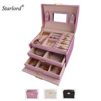 Starlord Jewelry Storage Box Three Layer With Mirror Lock PU Leather Display Lockable Travel Jewelry Organizer
