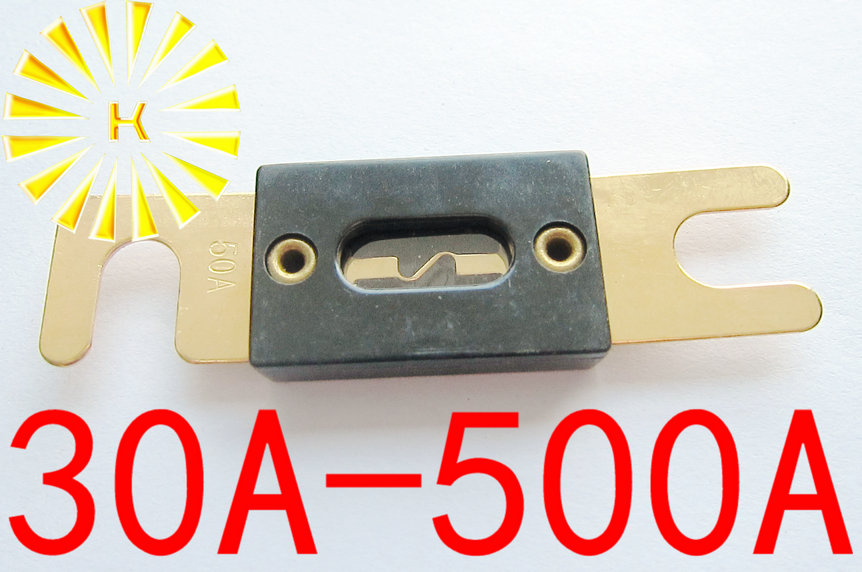 FREE SHIPPING 10PCSx 30A 40A 50A 60A 70A 80A 100A 200A 300A 400A 500A 32V Black Car Stereo Audio ANL Fuse Gold Plated Power Fuse