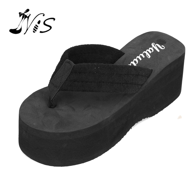 3901368cb403 NIS 2017 Lady Summer Waterproof Beach Slippers New Fashion Women Non-slip  Platform Wedges Sandals High Heel Flip Flops