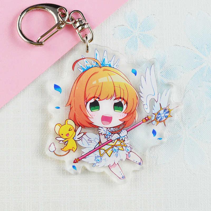 Anime Kinomoto Card Captor Sakura Pendente Della Catena Chiave di Keychain Acrilico Del Fumetto di Kawaii Figura Portachiavi