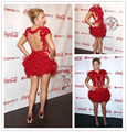 Short Celebrity Dresses Red Carpet Evening Party Gowns Ruffled Skirt High Neck Lace Appliques See Through Back Mini