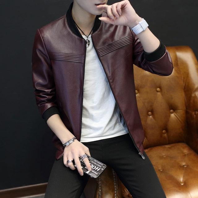 Thoshine Brand Spring Autumn Men PU Leather Jackets Striped Zipper Slim Fit Male Faux Leather Coats Mandarin Collar Streetwear