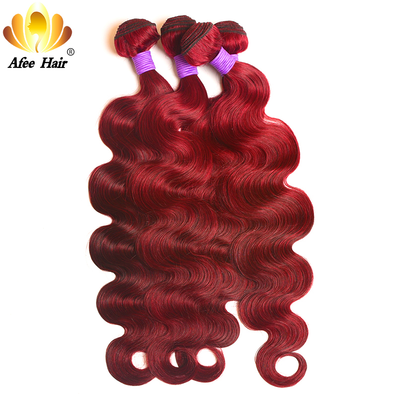 Aliafee Hair Brazilian Burgundy Body Wave Bundles Remy Hair Weave #99 Wine Red Human Hair Extension 4 Bundle Deals
