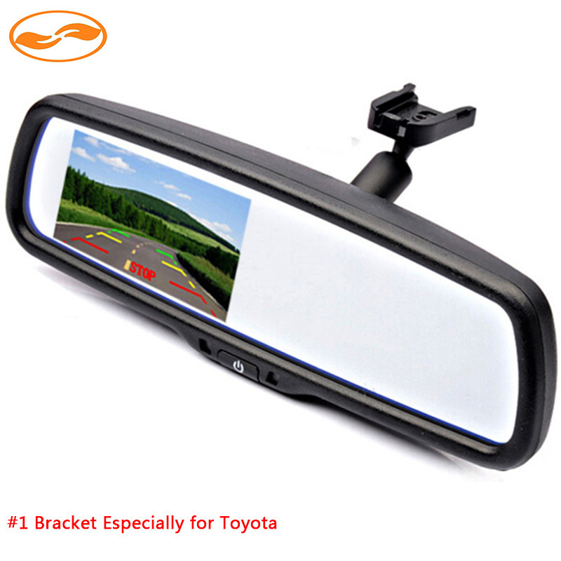 4.3 TFT LCD Car Rear View Rearview Mirror Monitor 640*480 Resolution 2CH Video Input with #1 Bracket for Toyota