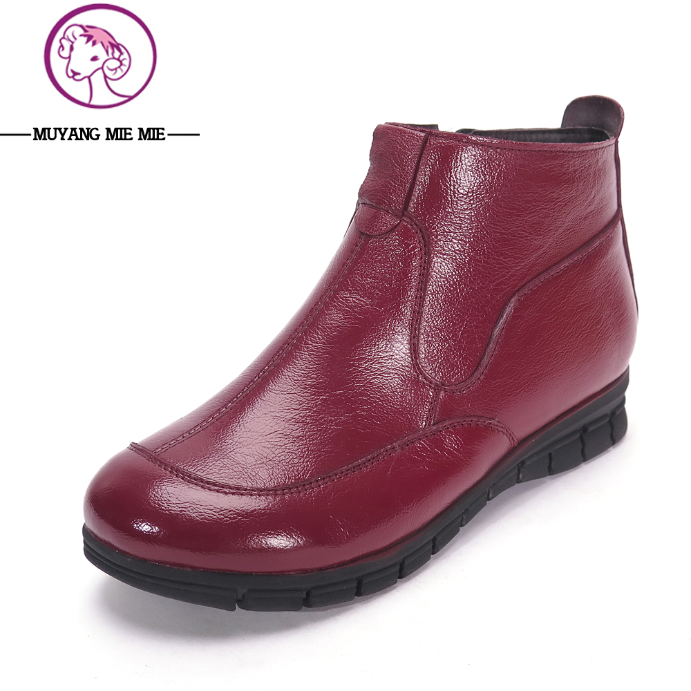 MUYANG MIE MIE New Women Boots Genuine Leather 2017 Winter Casual Boots Shoes Women Flat Warm Boots Female Shoes Snow Boots muyang mie mie 2017 new fashion women flats rhinestone genuine leather flat shoes woman casual shoes soft round toe women shoes