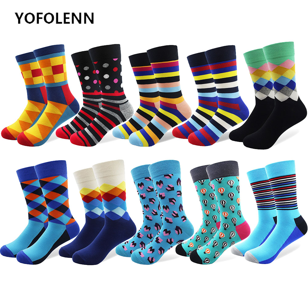 10 Pairs/lot Mens Funny Combed Cotton Socks Balloon Diamond Striped Argyle Dress Crew Socks Novelty Casual Sock For Man Cool