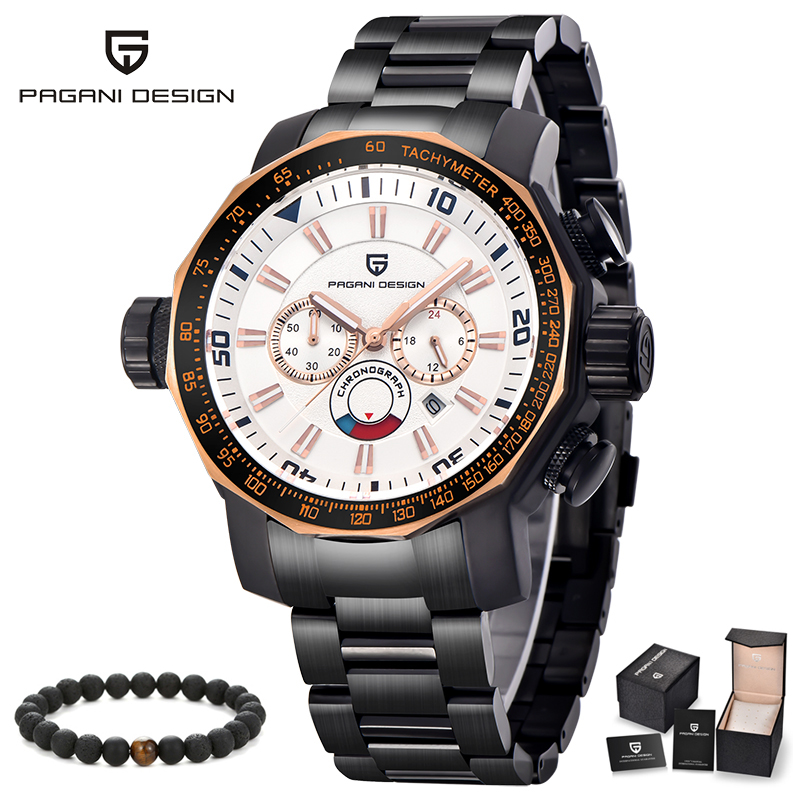 PAGANI Fashion Sport Watches for Men Three Eyes Multifunction Luxury Top Brand Full Stainless Steel Analog Quartz Wrist Watch