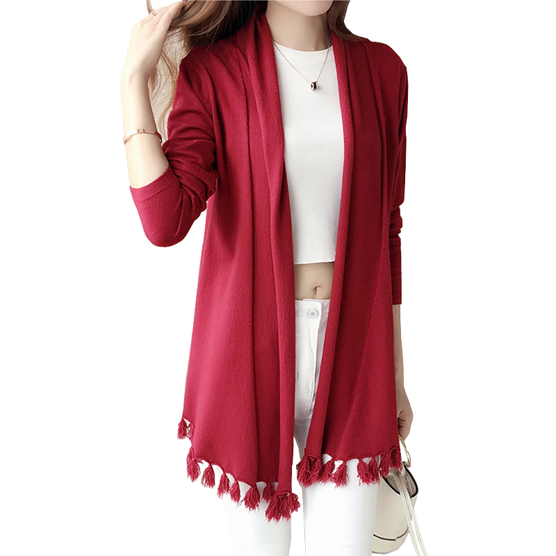 Autumn 2017 Knitted Cardigan Sweater Lady Long Sleeve Tassel Trim Loose Large Cardigans Knitting Coats Female Cardigan Feminino