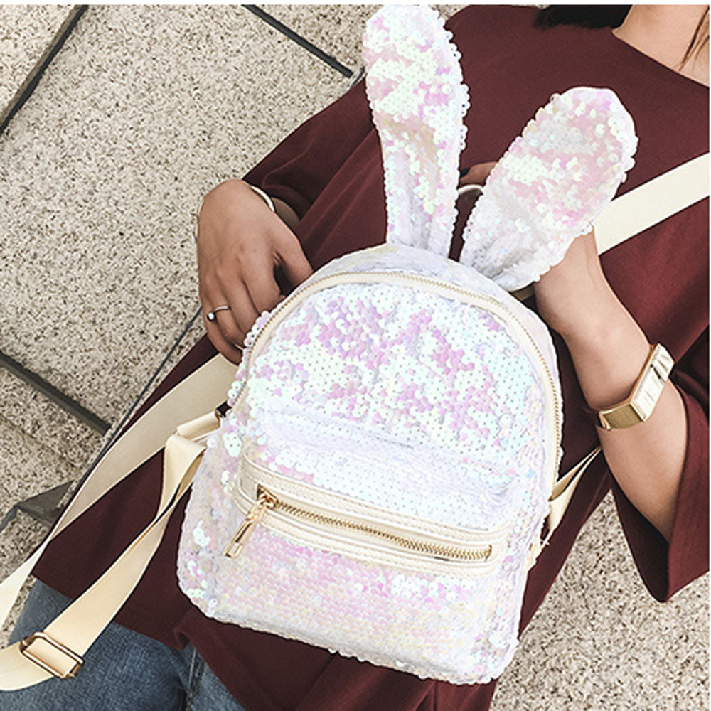 Japan and South Korea Fashion Style Women Simple Fashion Girls Sequins Backpack Women Leisure School Bag