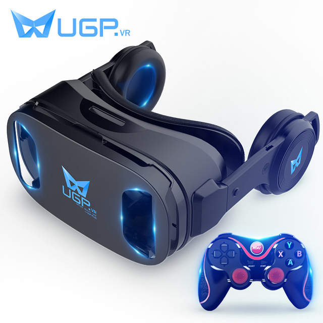 85203794a75 Online Shop UGP U8 VR Glasses 3D IMAX Virtual Reality Helmet 3D Movie Games  With Headphone + Bluetooth Gamepad For 4.5 - 6.0 Inch Smartphone