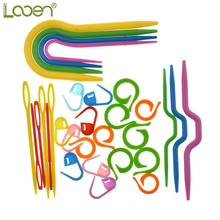 53pcs/5Sets ABS Plastic Knitting Cable Needles Stitch Smooth U Crochet Hook & L Markers Needle Clip