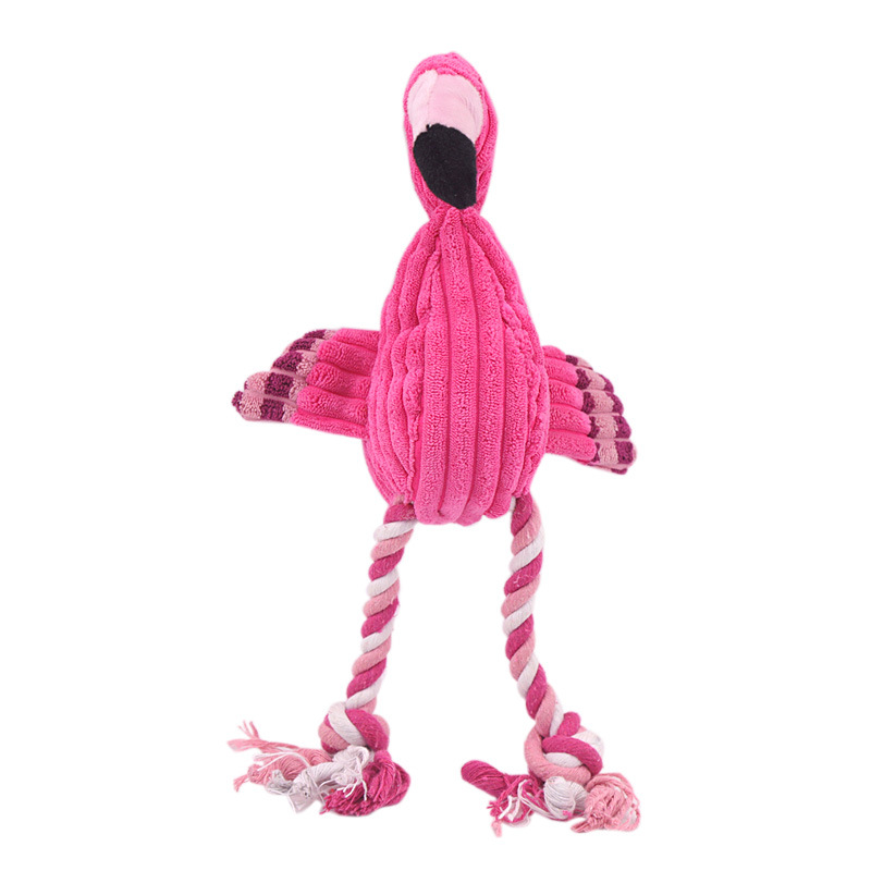 Bite Resistant Squeak Dog Toys Flamingo Plush Pet interactive Toys Dog Chew Toy Popular Dolls Cartoon Toys For Small Large Dogs in Dog Toys from Home Garden