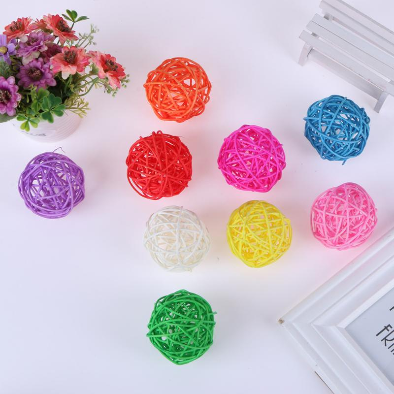 assorted Color 100% Original 5pcs Wicker Rattan Ball Wedding Christmas Party Hanging Dec Nursery Mobiles 3cm