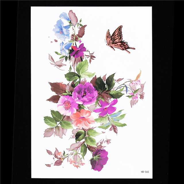 94f29879e Flower Decal 1pc Fake Butterflies DIY Women Henna Body Arm Art Decal HB565  Water Transfer Petunia