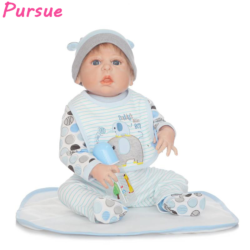 Pursue 22 inch Blue Eyes Reborn Babies Full Body Silicone Reborn Dolls for Sale bebe reborn menino com corpo de silicone menina miller titan by honeywell ac qc xsbl aircore full body harness x small blue