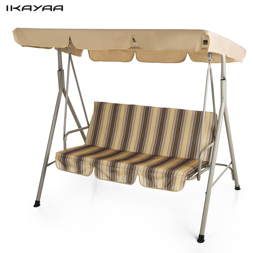 Outdoor Swinging Chair - Ikayaa 3 seater patio canopy swing glider hammock outdoor porch swing chair backyard furniture metal frame