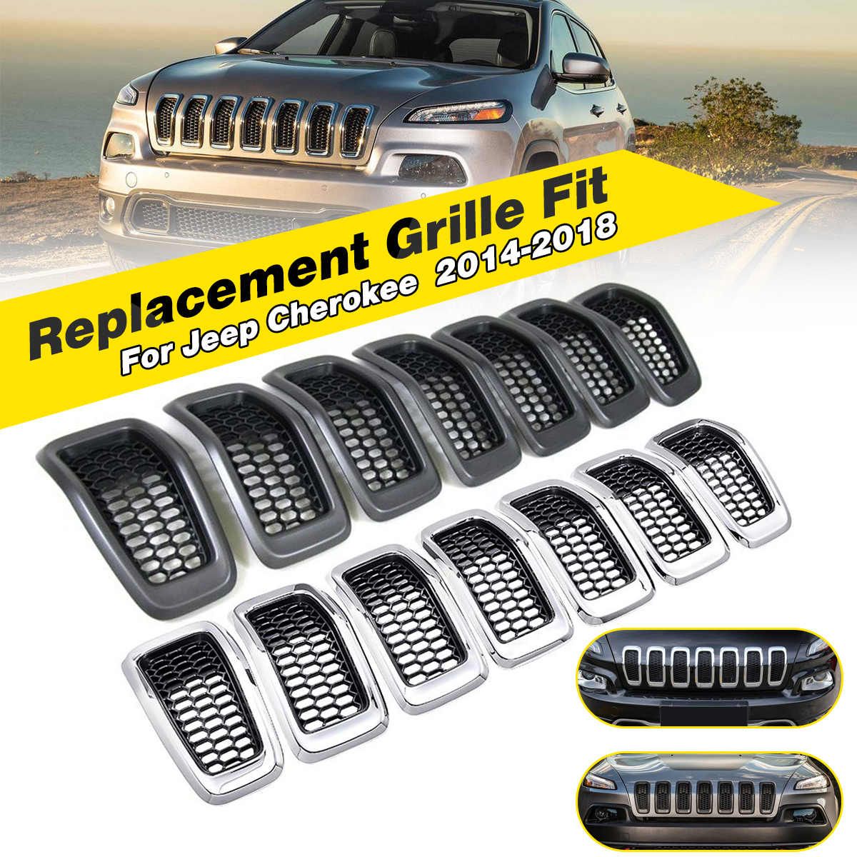 Fits For Jeep Cherokee 2016 2017 Auto Front Grills Grille Cover Trim Chrome