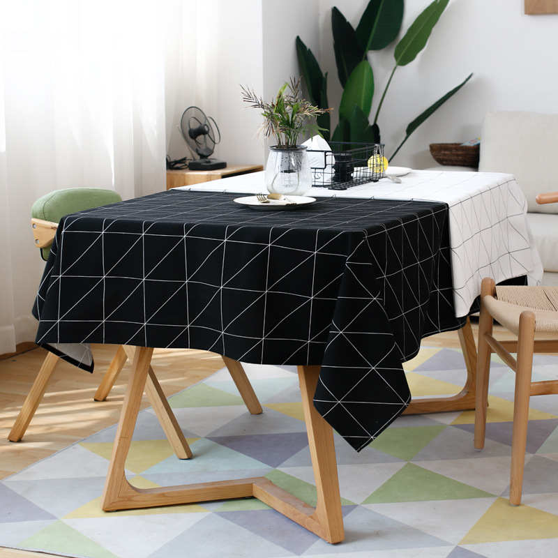 Modern Square Plaid Black And White Waterproof Table Clothes Cloth
