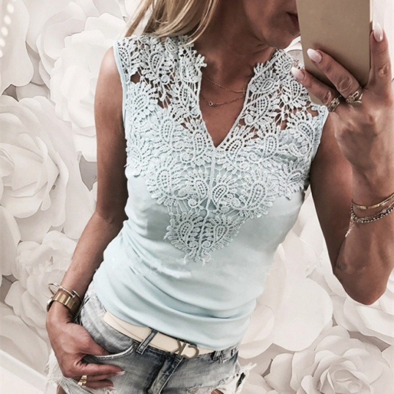 Sexy Lace Cotton Patchwork V-neck Camis Female Trend   Tank     Tops   Sleeveless Slim Outer Wear Shirt Casual   Tops   Women H