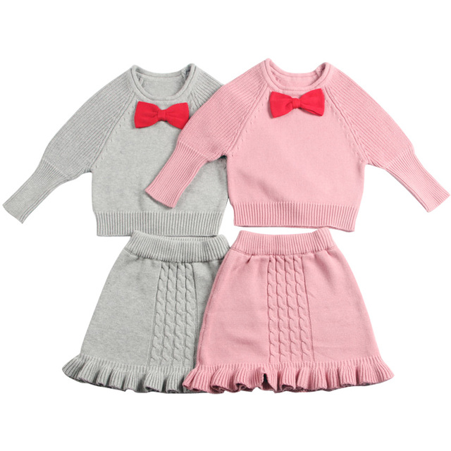 34230a9672986 US $32.15 |Baby Girls Christmas Clothes Fashion Knitted Sweater + Knitted  Skirt Winter Children Clothing Kids Outfits Girls Clothing Sets-in Clothing  ...