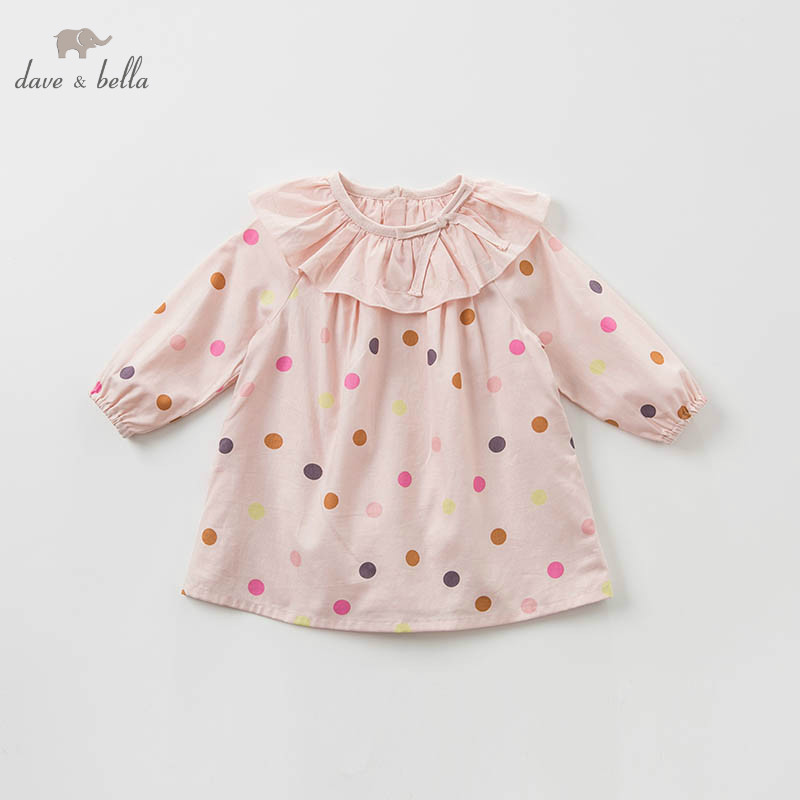DB10152-2 dave bella baby girls dress Long sleeve spring dots dresses kids girls dress children birthday party boutique dress