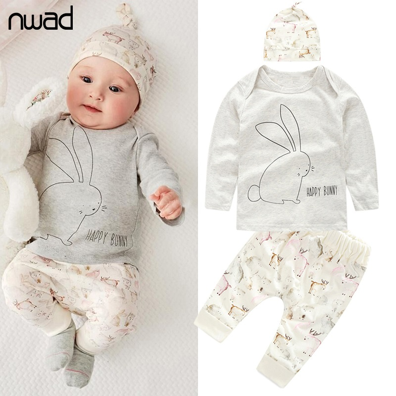 NWAD Newborn Baby Girl Clothes Baby Boys Clothing Sets 2017 Autumn Bunny New Born Long Sleeve T Shirt+Pants+Hat 3pcs Set FF014 boys clothes brand 2017 autumn boys gentleman set baby boys striped long sleeve shirt denim long overalls pants 2pcs sets 4