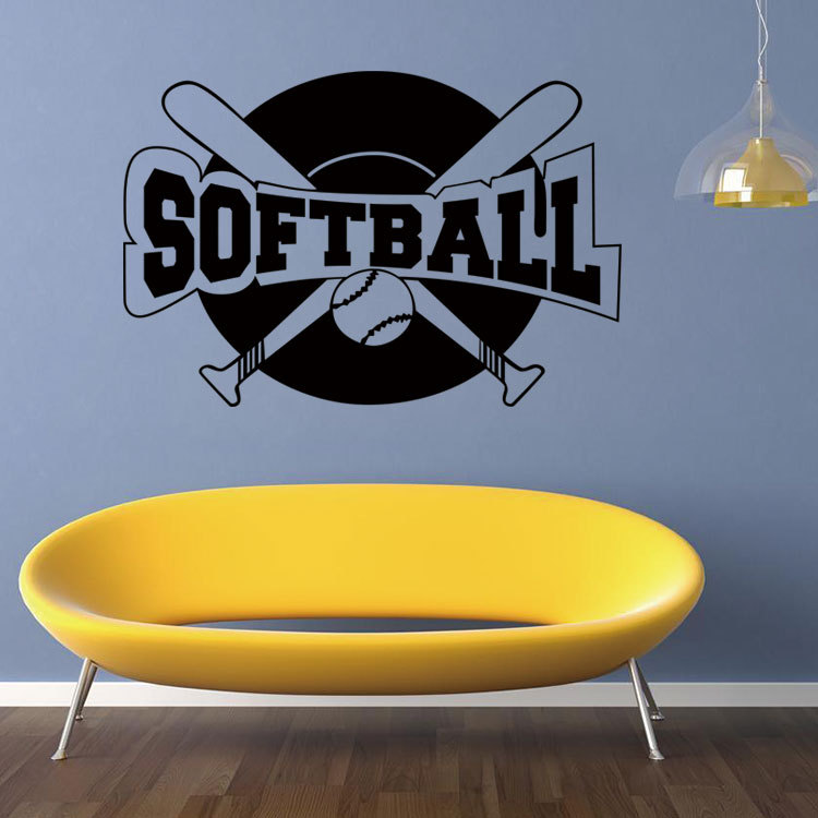 SOFTBALL Hot Wall Stickers Remove Waterproof Stickers Living Room Bedroom  Creative Decorative Mural PVC Art Home