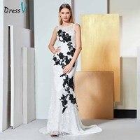 Dressv элегантный белый вечернее платье без рукавов с кружевной аппликацией Русалка Свадебная вечеринка торжественное платье Труба вечернее