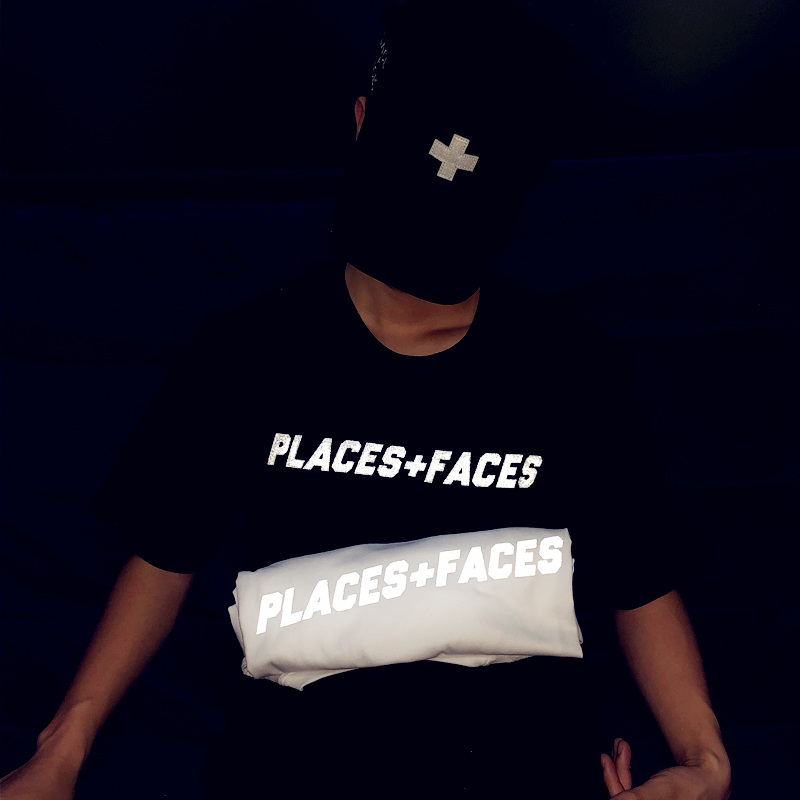 2018 p f places faces Letter Hip Hop cross Reflective 3M Kanye West Tee Men Women Casual T-shirts fashion Justin Bieber T shirt
